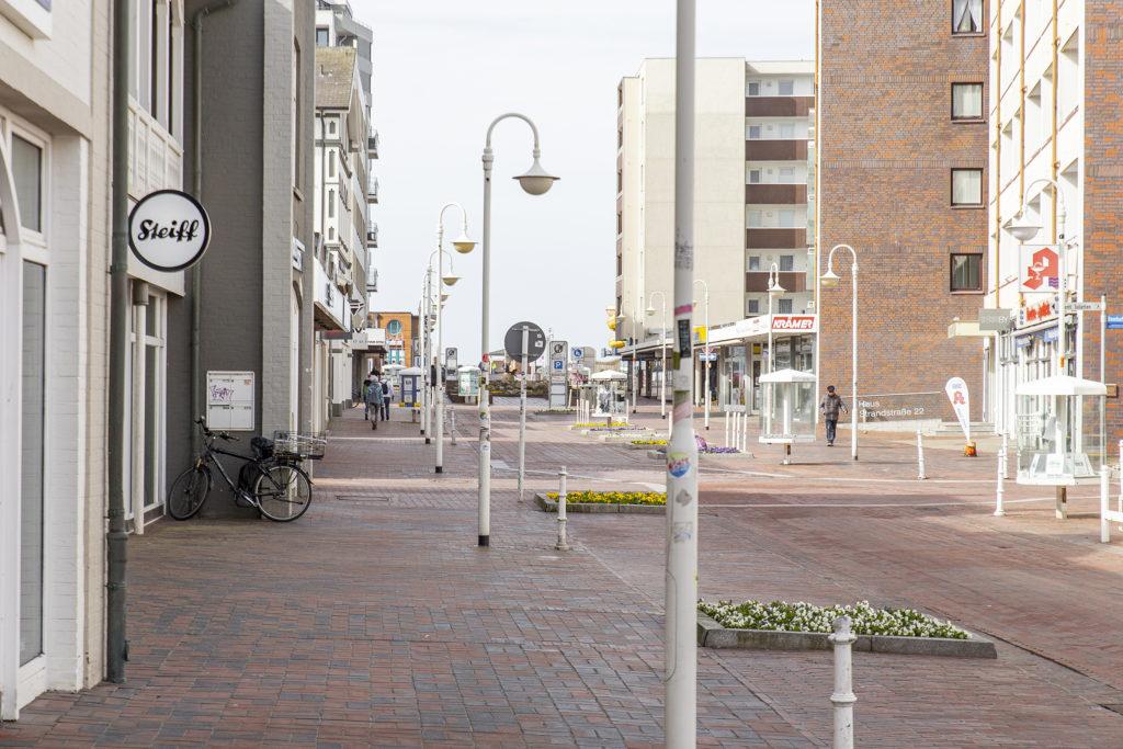 Die menschenleere Fußgängerzone im Lockdown.