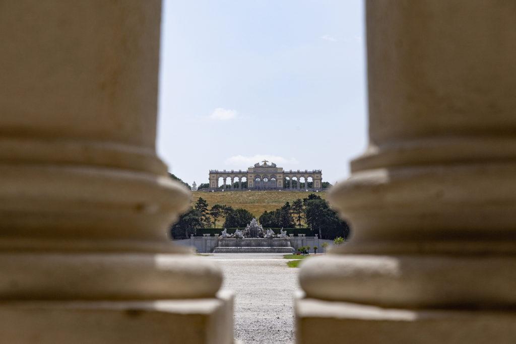 Und umgekehrt: Der Blick vom Schloss auf die Gloriette.